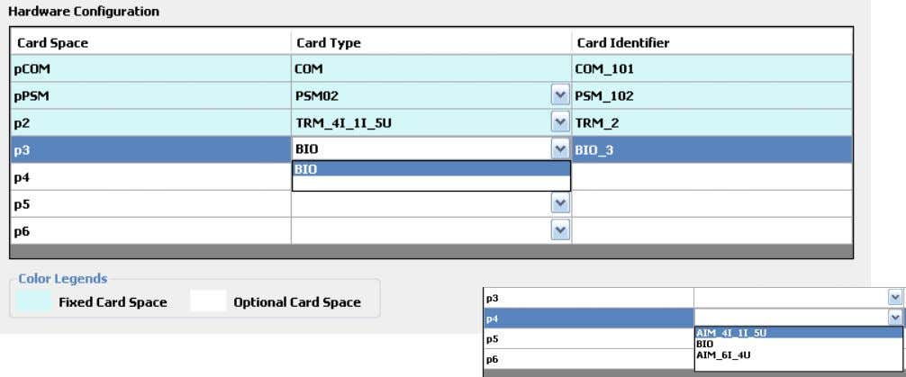Section 2 Hardware Configuration  Select card in drop down menu  Add/Remove cards in fixed