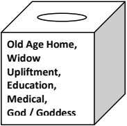 Old Age Home, Widow Upliftment, Education, Medical, God / Goddess