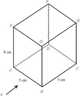 cuboid with square base ABCD on a horizontal plane. (a) Draw to full scale, the elevation