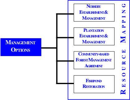 NURSERY ESTABLISHMENT& MANAGEMENT PLANTATION ESTABLISHMENT& MANAGEMENT MANAGEMENT OPTIONS COMMUNITY-BASED