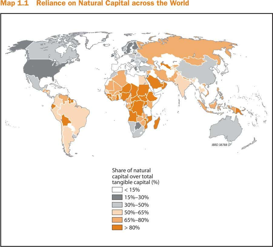 Map 1.1 Reliance on Natural Capital across the World IBRD 38788 Share of natural capital