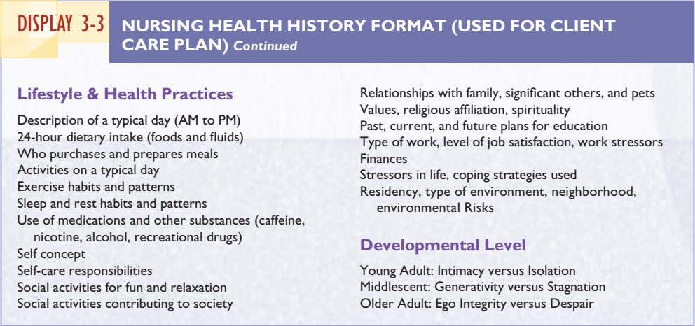 DISPLAY 3-3 NURSING HEALTH HISTORY FORMAT (USED FOR CLIENT CARE PLAN) Continued Lifestyle & Health