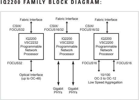 IQ2200 FAMILY BLOCK DIAGRAM: Fabric Interface Fabric Interface Fabric Interface CSIX/ CSIX/ CSIX/ FOCUS32