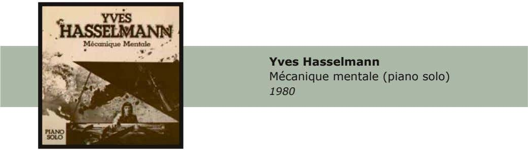 Yves Hasselmann Mécanique mentale (piano solo) 1980