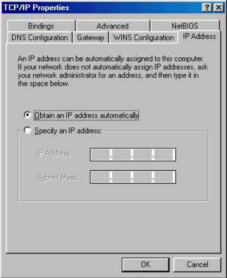 Obtain IP address automatically . Click OK button. The window will ask you to restart the