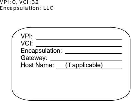 VPI:0, VCI:32 Encapsulation: LLC VPI: VCI: Encapsulation: Gateway: Host Name: (if applicable)
