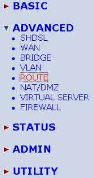 the network. Click Route to modify the routing information. To modify the RIP (Routing information protocol)