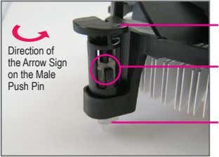 Direction of the Arrow Sign on the Male Push Pin