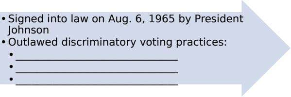 •Signed into law on Aug. 6, 1965 by President Johnson •Outlawed discriminatory voting practices: •_______________________________ •_______________________________