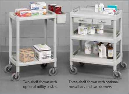 Two-shelf shown with optional utility basket. Three-shelf shown with optional metal bars and two drawers.