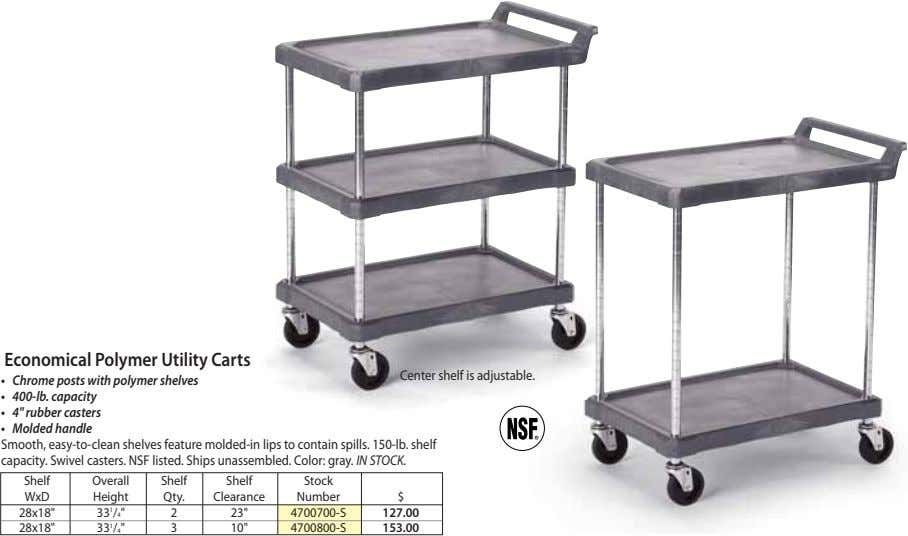 Economical Polymer Utility Carts Center shelf is adjustable. • Chrome posts with polymer shelves •