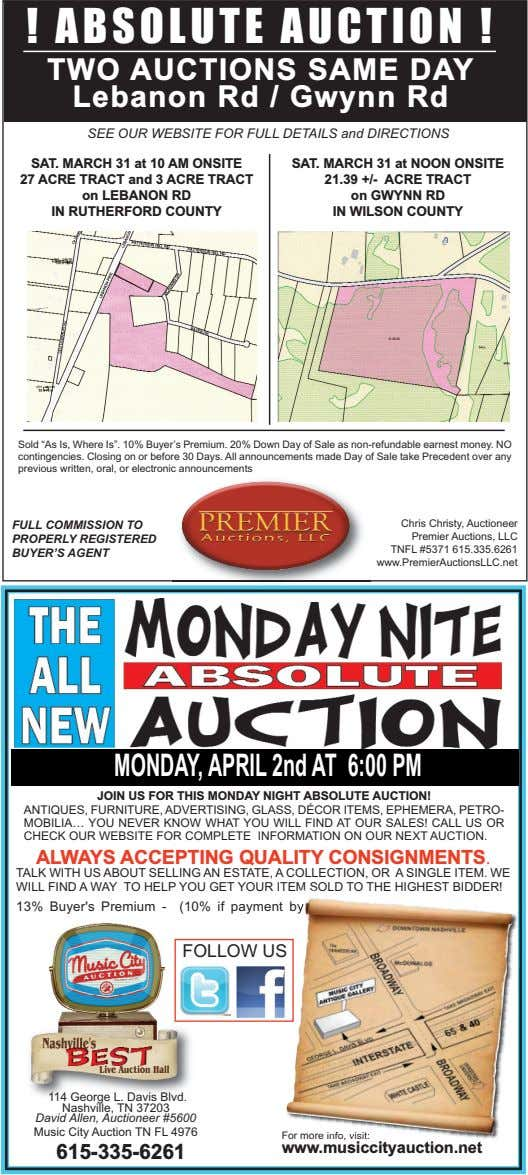 ! ABSOLUTE AUCTION ! TWO AUCTIONS SAME DAY Lebanon Rd / Gwynn Rd SEE OUR
