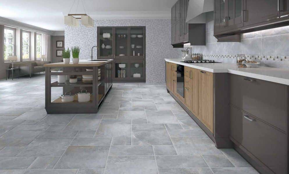 Pavimento: Covent Grey 50x50, 25x50, 25x25. Revestimiento: Covent Grey 25x50, Mosaico Covent Grey 33x33, listelo