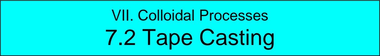 VII. Colloidal Processes 7.2 Tape Casting