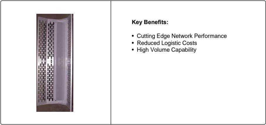 Key Benefits: • Cutting Edge Network Performance • Reduced Logistic Costs • High Volume Capability