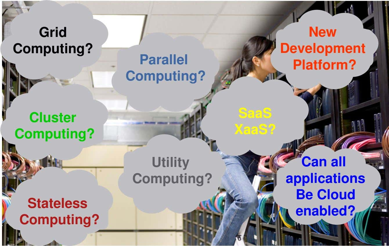 Grid New Computing? Development Parallel Platform? Computing? SaaS Cluster XaaS? Computing? Utility Computing?
