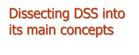 Dissecting DSS into its main concepts