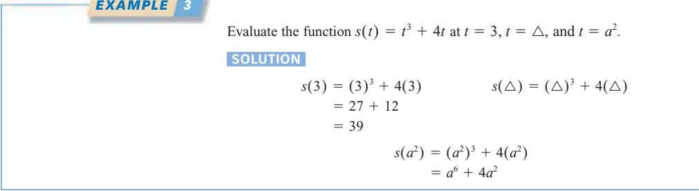EXAMPLE 3 Evaluate the function s(t) 5 t 3 1 4t at t 5 3,