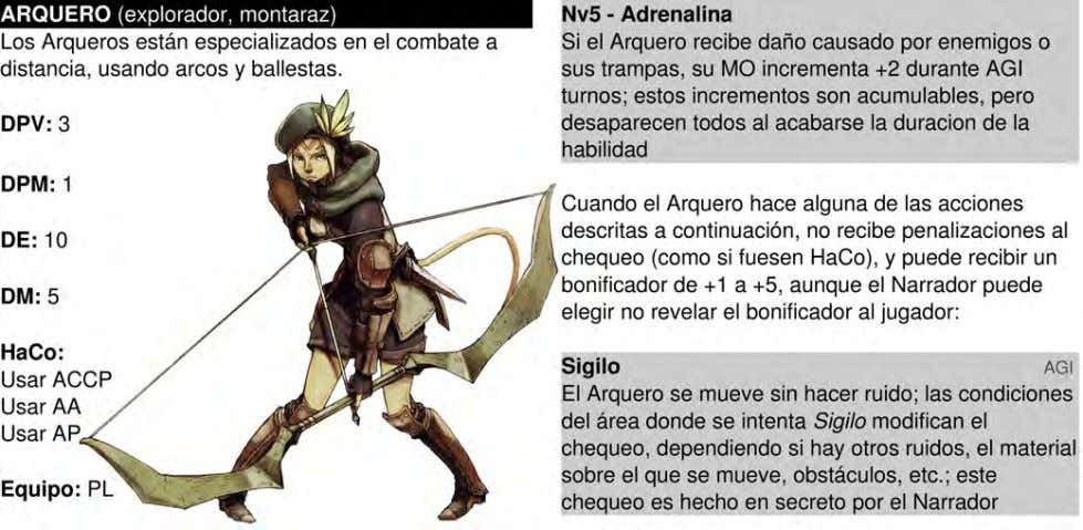 23 Habilidades: Arcos y Ballestas AT+1 cuando usa estas armas (AT+2 en Nv5, AT+3 en Nv10,