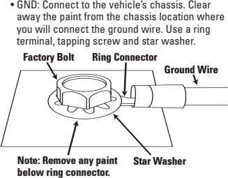 • GND: Connect to the vehicle's chassis. Clear away the paint from the chassis location