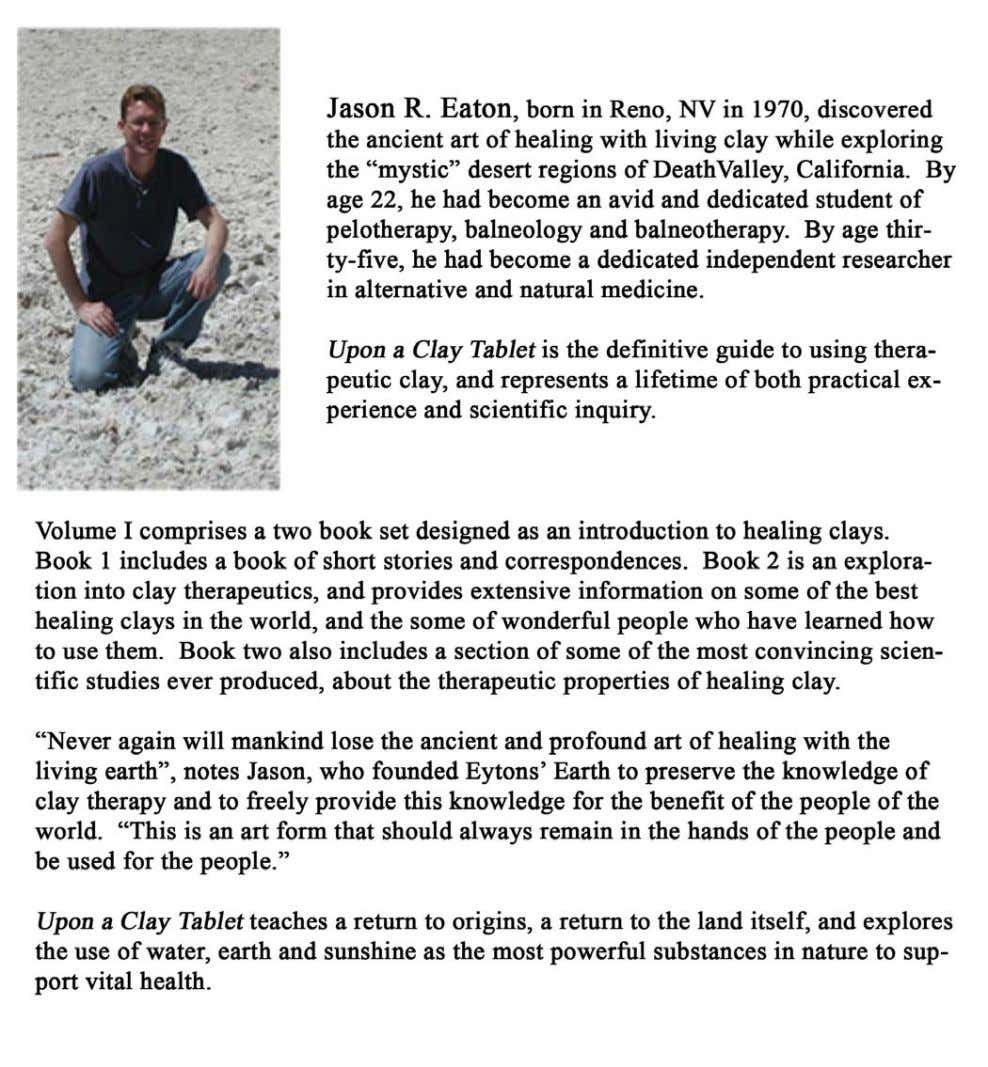 Jason R. Eaton: Upon a Clay Tablet, Volume I (Back Cover) ii