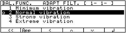 key 4. Confirm selection of filter adaptation menu item 5. Menu level 3: Select the desired