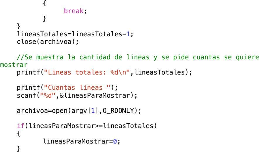! ! { !! ! break; ! ! } ! } ! lineasTotales=lineasTotales-1; ! close(archivoa);
