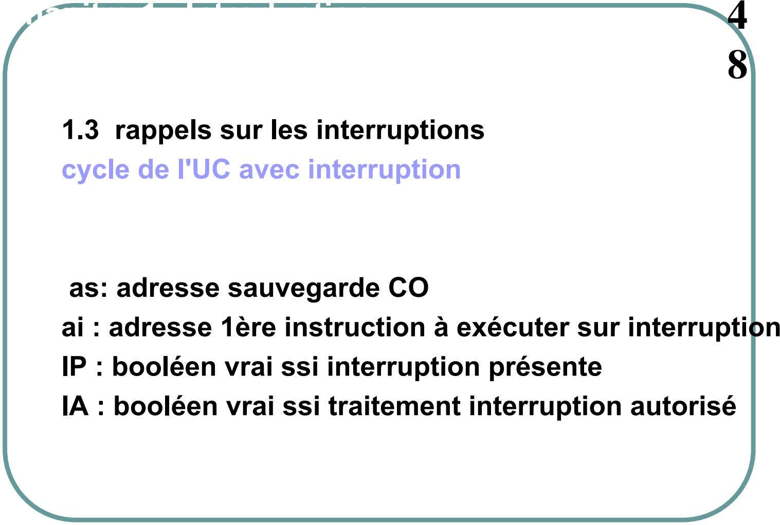 Chapitre 1. Introduction 4 8 1.3 rappels sur les interruptions cycle de l'UC avec interruption as:
