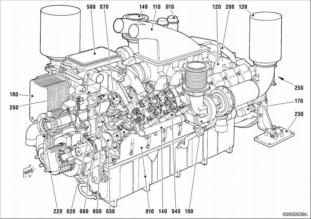 Illustration is applicable to 8/12/16/18V 2000 Gxy engines 010 Crankcase and attachments 100 Exhaust