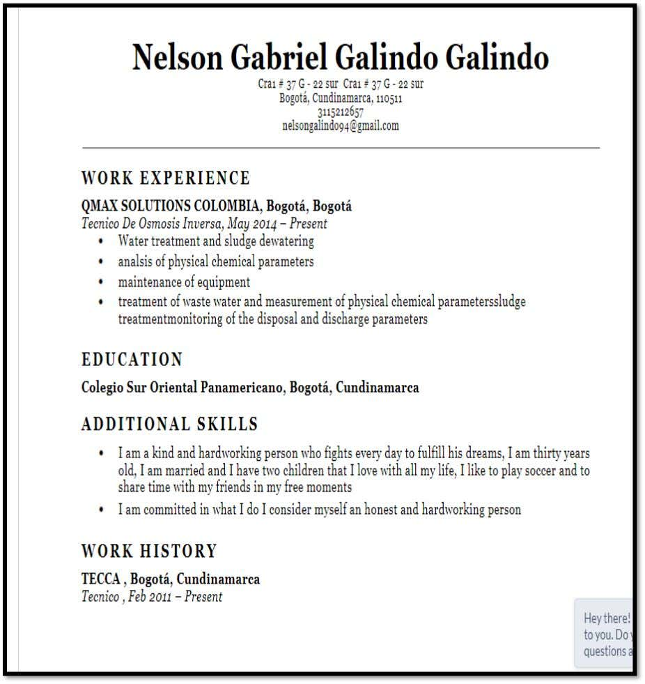 Stage 1 Giving advice & Getting a Job: Fill in the form Student 3: Nelson Gabriel