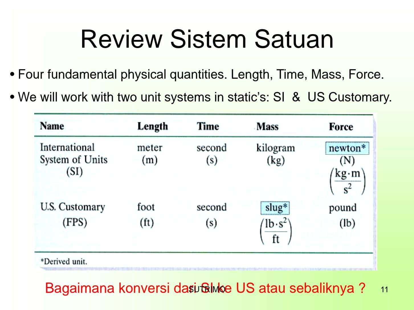 Review Sistem Satuan • Four fundamental physical quantities. Length, Time, Mass, Force. • We will