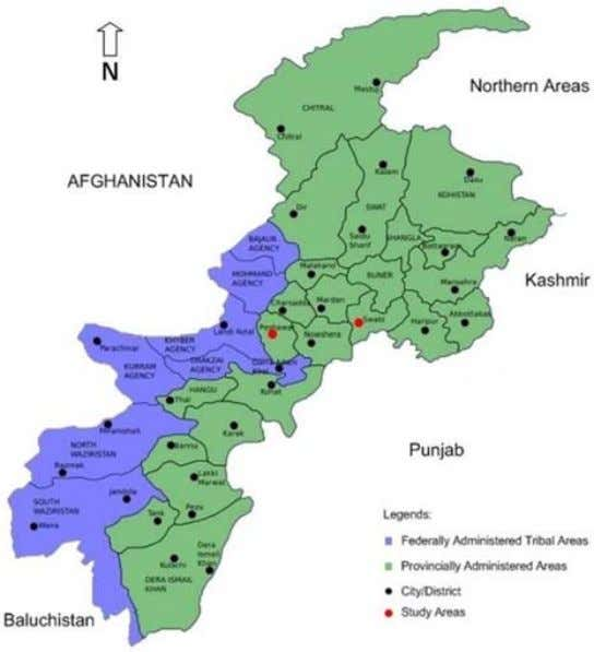 Journal of Spatial Science 129 Figure 2. Location of Study areas on Khyber Pakhtunkhwa Provincial Map.