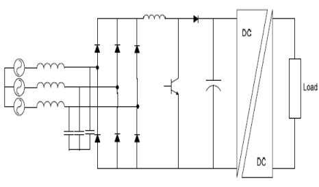 21 Figure 2. 8 - Single Switch Boost Power Converter 2.5 Vienna Rectifier Another three-switch boost