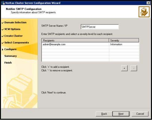 specify information about SMTP recipients and click Next . ■ Type the name of the SMTP