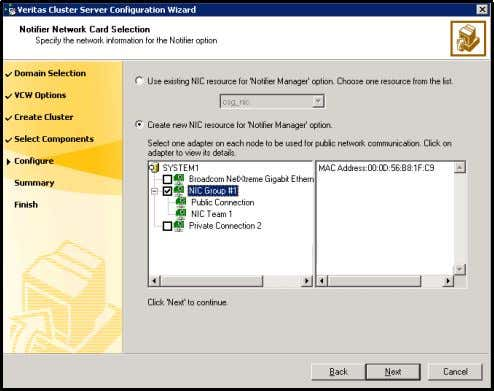 panel, specify the network information and click Next . ■ If the cluster has a ClusterService