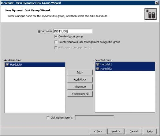 Server 6 Provide information about the cluster disk group. ■ In the Group name field, enter