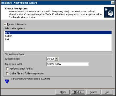 disk. 11 Click Next . 12 Create an NTFS file system. ■ Make sure the Format