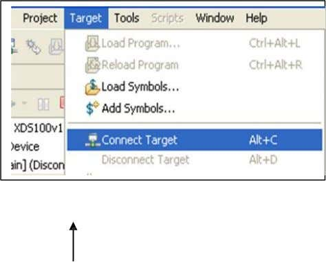 Connect CCS to the target Goto Target -> Connect Target Now our target is successfully configured