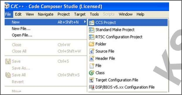 corner of the CCS Step P2: Go to File New CCS Project. Step P3: Specify the