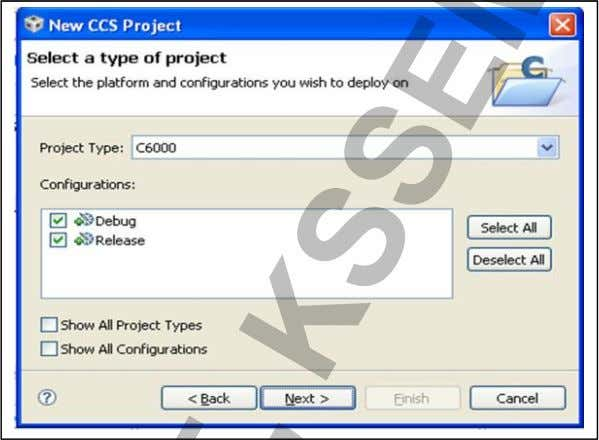 Select the project type Project Type: C6000 Click Next *However our target is based on C6000