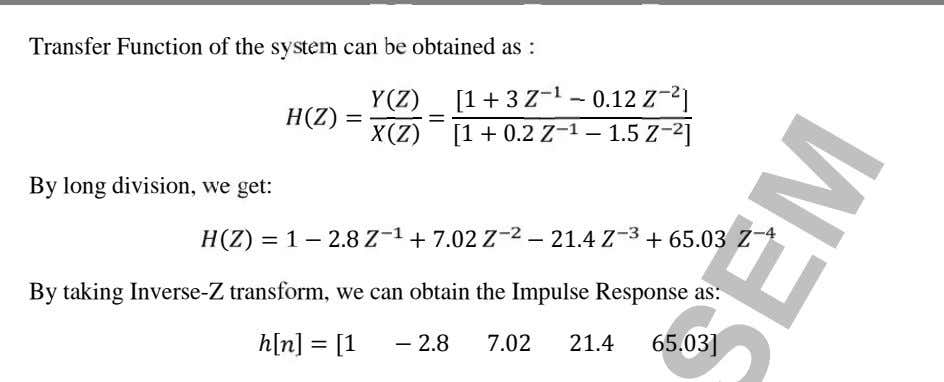 Transfer Function of the system can be obtained as : ( ) [1 + 3