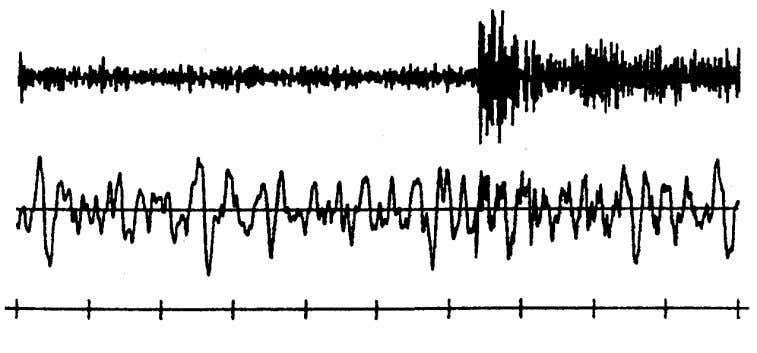 been removed by filtering (courtesy of J. Havskov, 2001). Fig. 4.28 Original (bottom) and frequency filtered