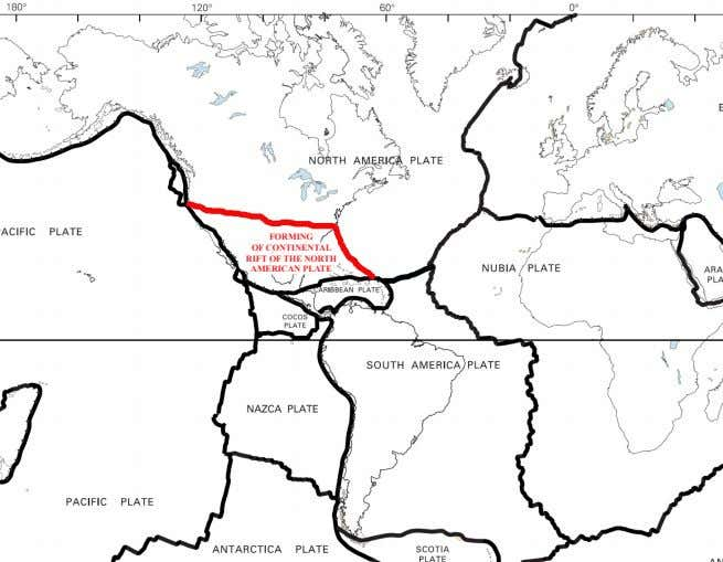 FORMING OF CONTINENTAL RIFT OF THE NORTH AMERICAN PLATE