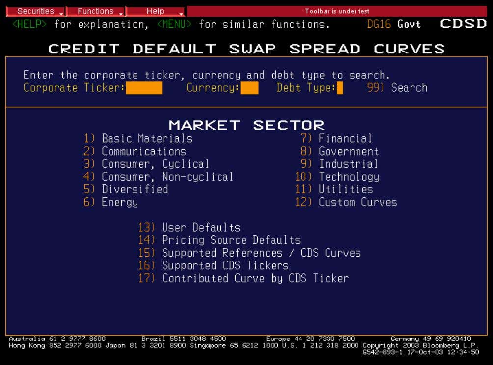 CDS Spread Curves Set up your CDS default settings SET UP YOUR PREFERRED SETTINGS FOR PAR