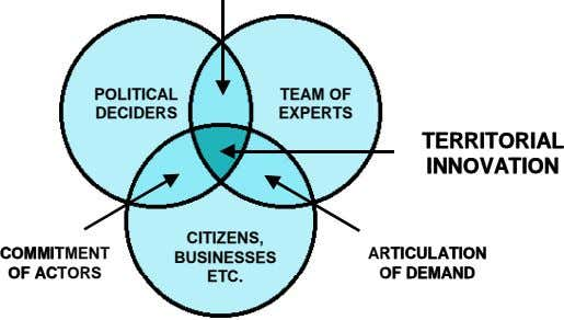 POLITICAL POLITICAL TEAM OF TEAM OF DECIDERS DECIDERS EXPERTS EXPERTS TERRITORIAL TERRITORIAL INNOVATION