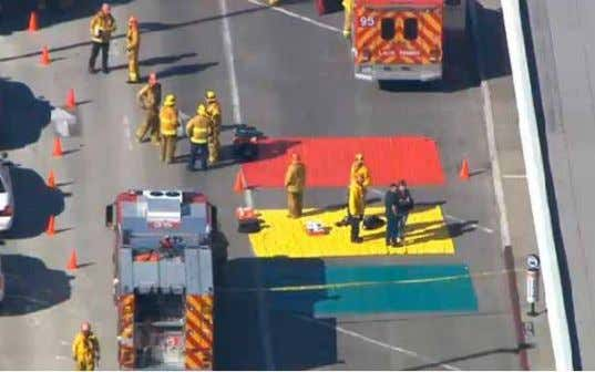 "shooter, there's a shooter,"" said In a video frame grab, fire and rescue personnel gathered at"