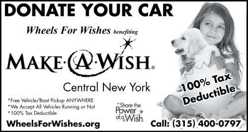 DONATE YOUR CAR Wheels For Wishes benefiting Central New York *Free Vehicle/Boat Pickup ANYWHERE *We