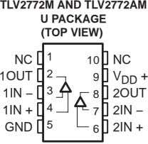 TLV2772M AND TLV2772AM U PACKAGE (TOP VIEW) 1 NC 10 NC 2 1OUT 9 V