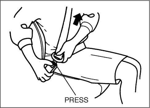 described below. Make sure that the belt is not twisted. 70F-01-023E To unfasten the belt, press