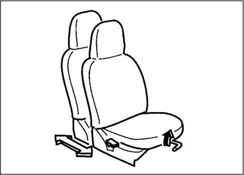 and seatback are properly adjusted before you start driving. 72F-03-013 Adjusting Seat Position The adjustment lever